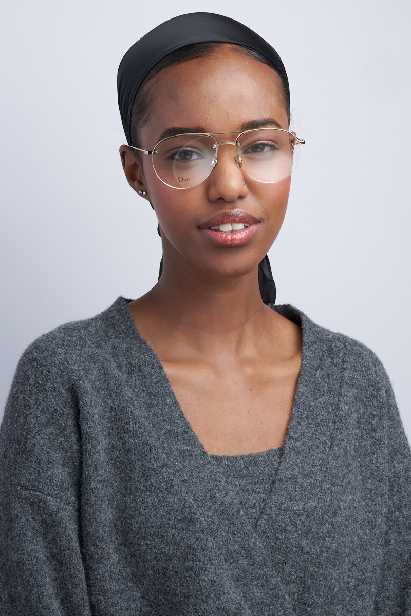 Image with model wearing glasses